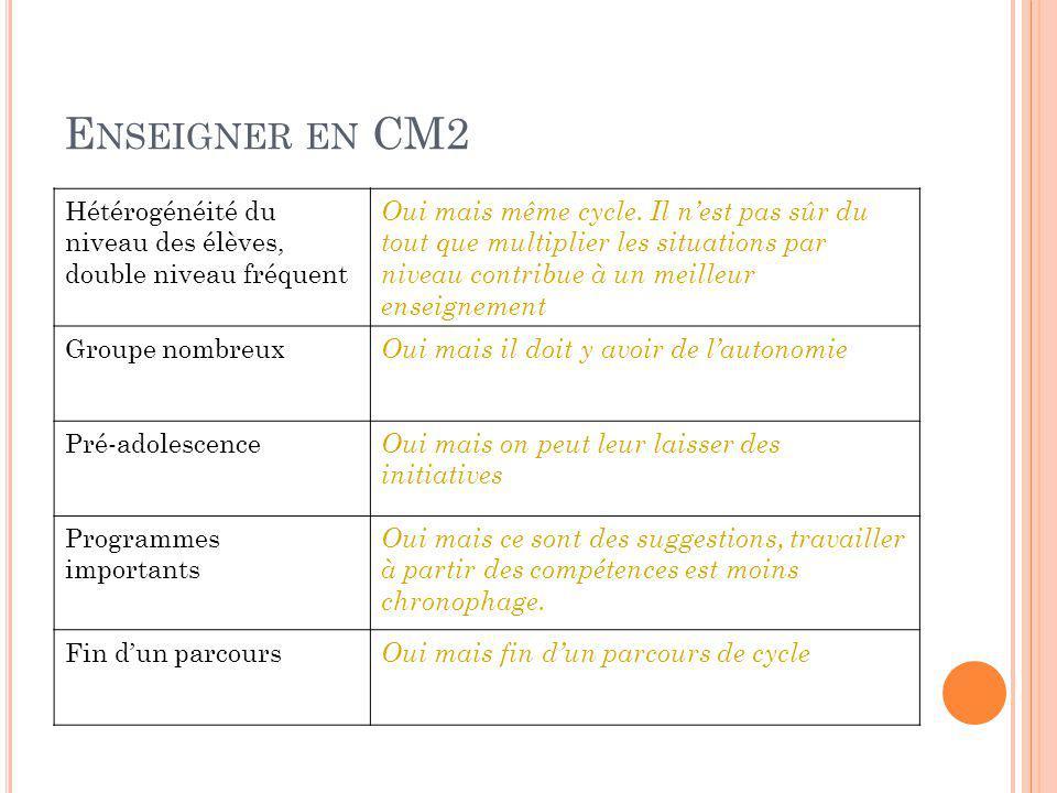 Enseigner en CM2 Hétérogénéité du niveau des élèves, double niveau fréquent.