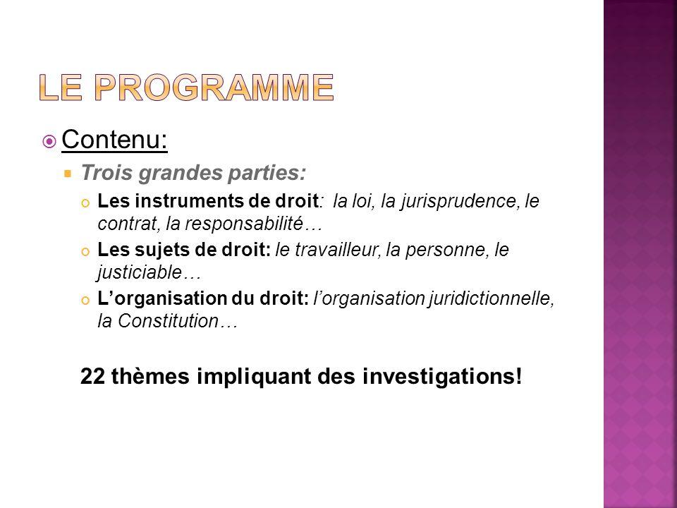 Le programme Contenu: 22 thèmes impliquant des investigations!