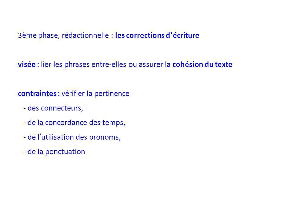3ème phase, rédactionnelle : les corrections d'écriture