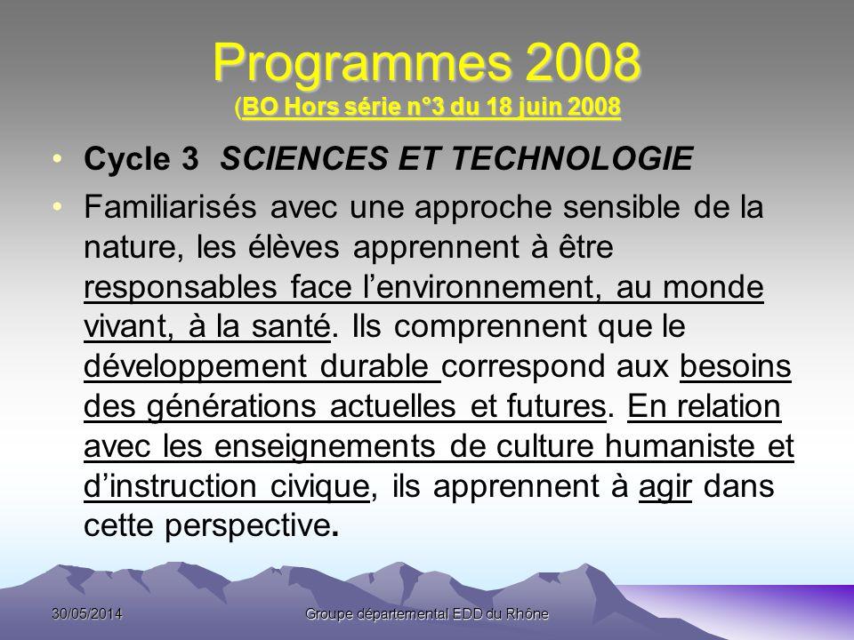 Programmes 2008 (BO Hors série n°3 du 18 juin 2008