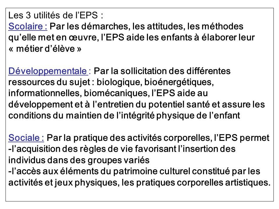 Les 3 utilités de l'EPS :