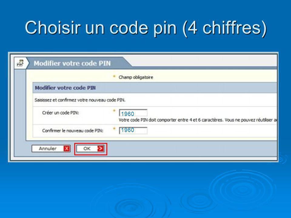 Choisir un code pin (4 chiffres)