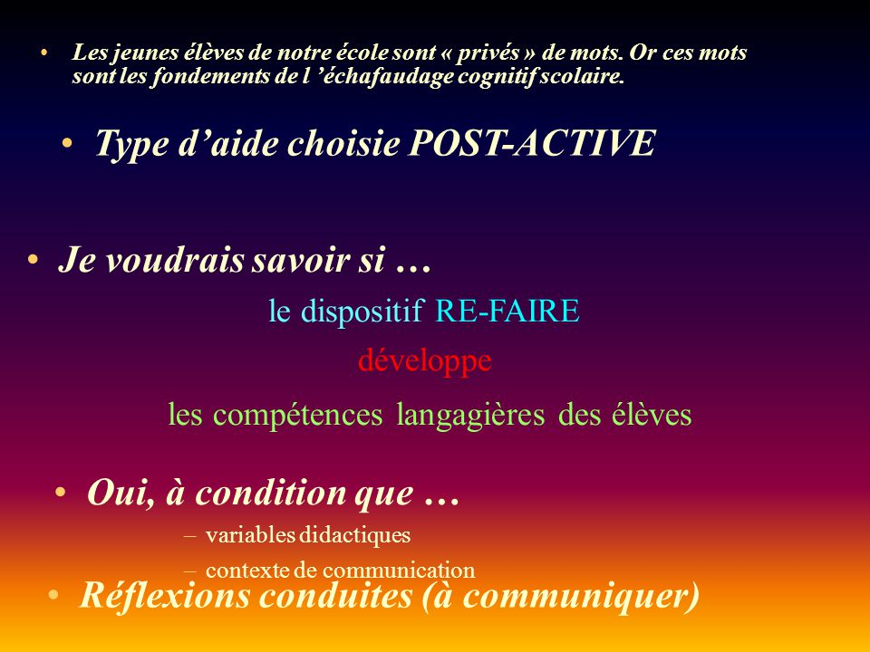 Type d'aide choisie POST-ACTIVE