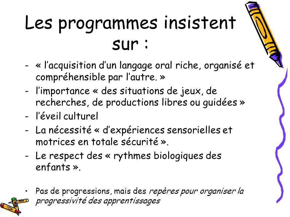 Les programmes insistent sur :