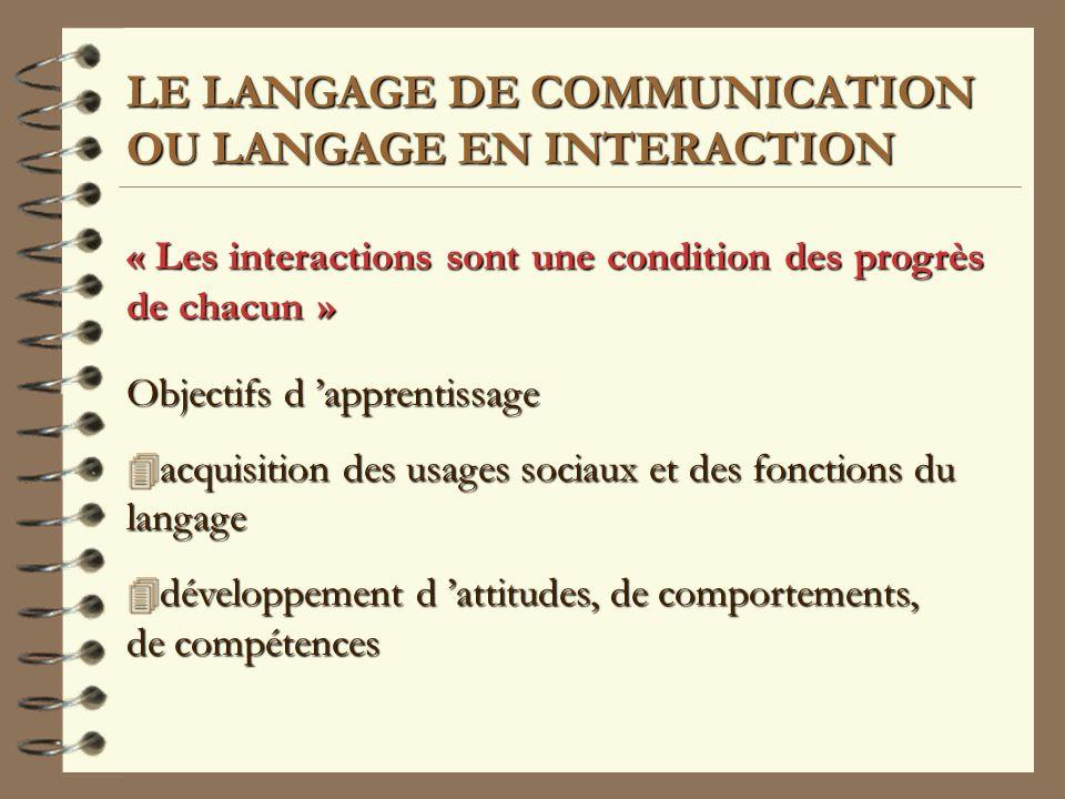 LE LANGAGE DE COMMUNICATION OU LANGAGE EN INTERACTION