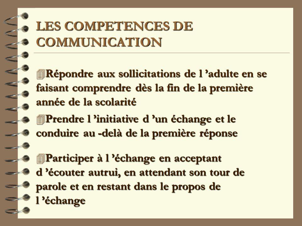 LES COMPETENCES DE COMMUNICATION