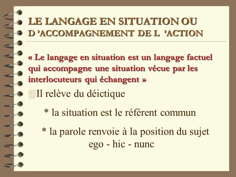 LE LANGAGE EN SITUATION OU D 'ACCOMPAGNEMENT DE L 'ACTION