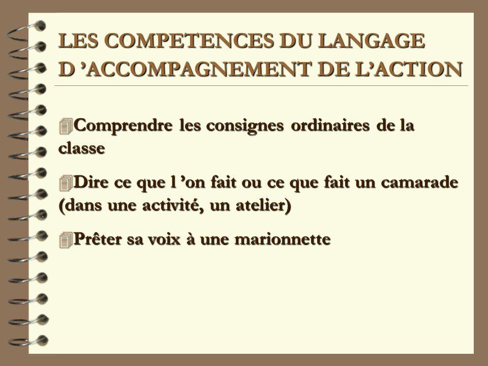 LES COMPETENCES DU LANGAGE D 'ACCOMPAGNEMENT DE L'ACTION