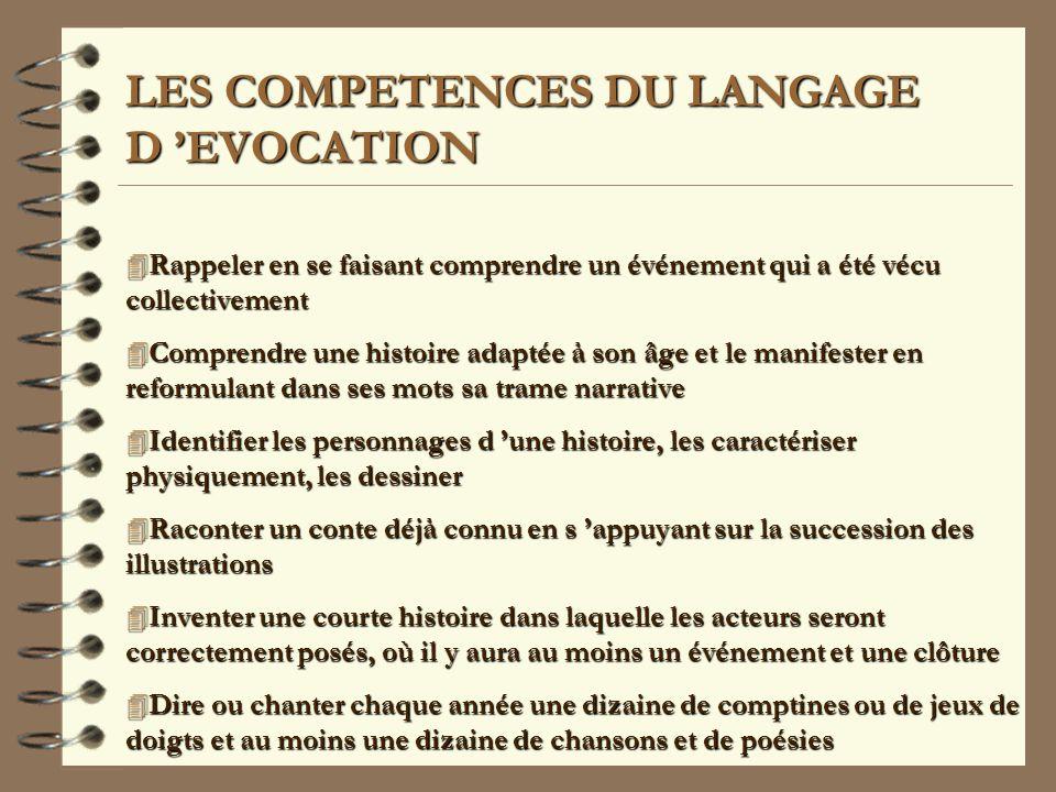 LES COMPETENCES DU LANGAGE D 'EVOCATION