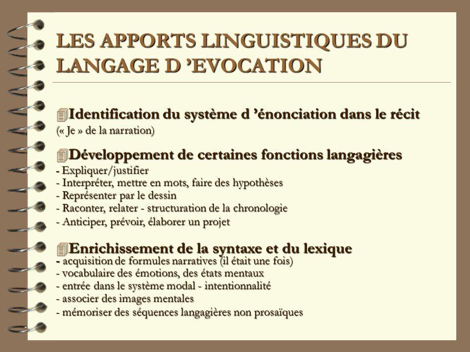 LES APPORTS LINGUISTIQUES DU LANGAGE D 'EVOCATION