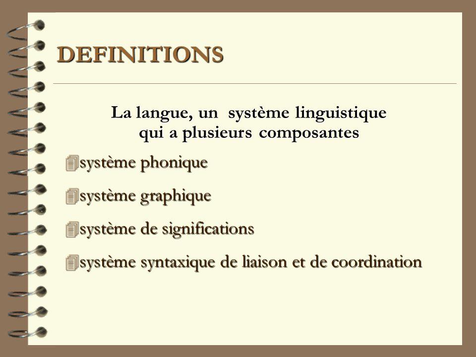 La langue, un système linguistique