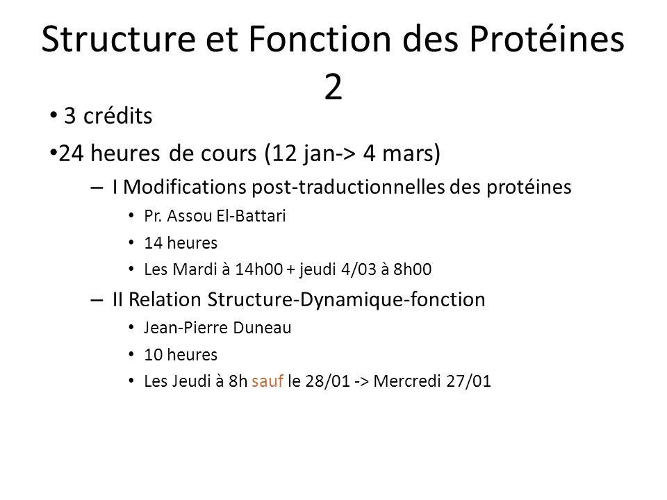 Structure et Fonction des Protéines 2