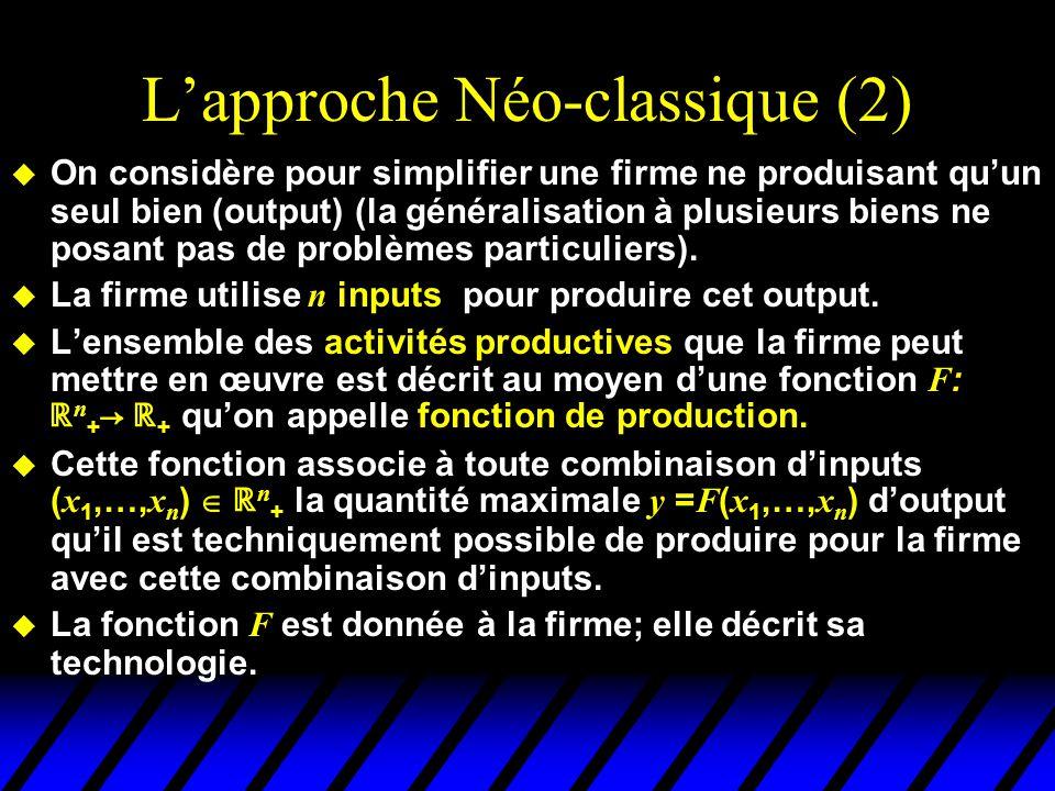 L'approche Néo-classique (2)