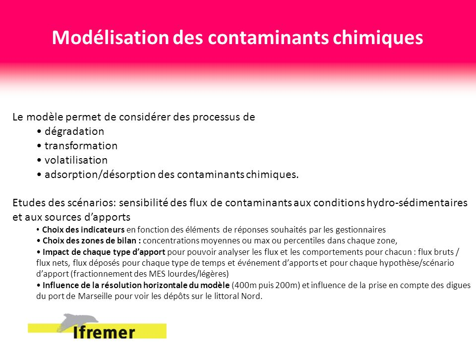 Modélisation des contaminants chimiques