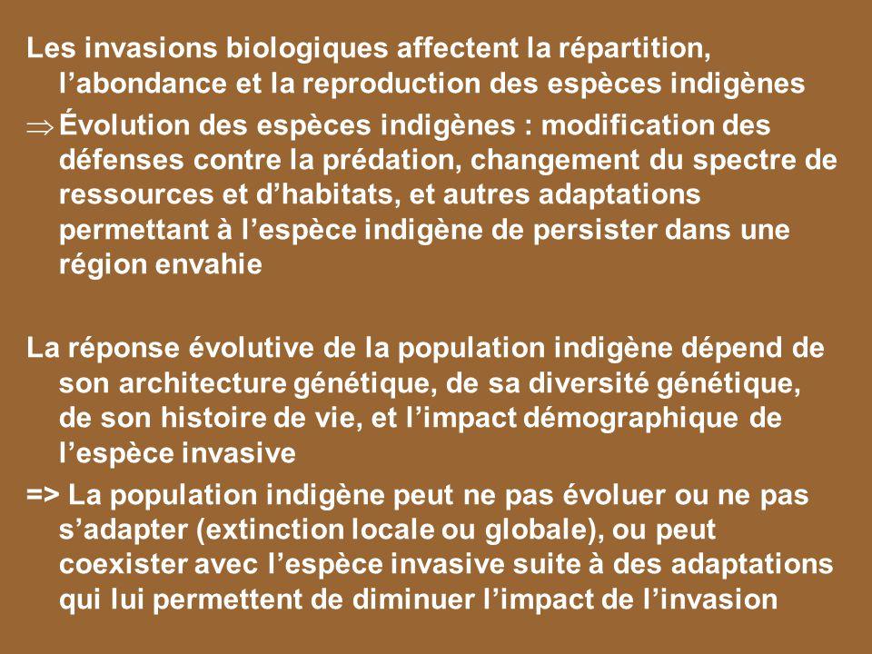 Les invasions biologiques affectent la répartition, l'abondance et la reproduction des espèces indigènes