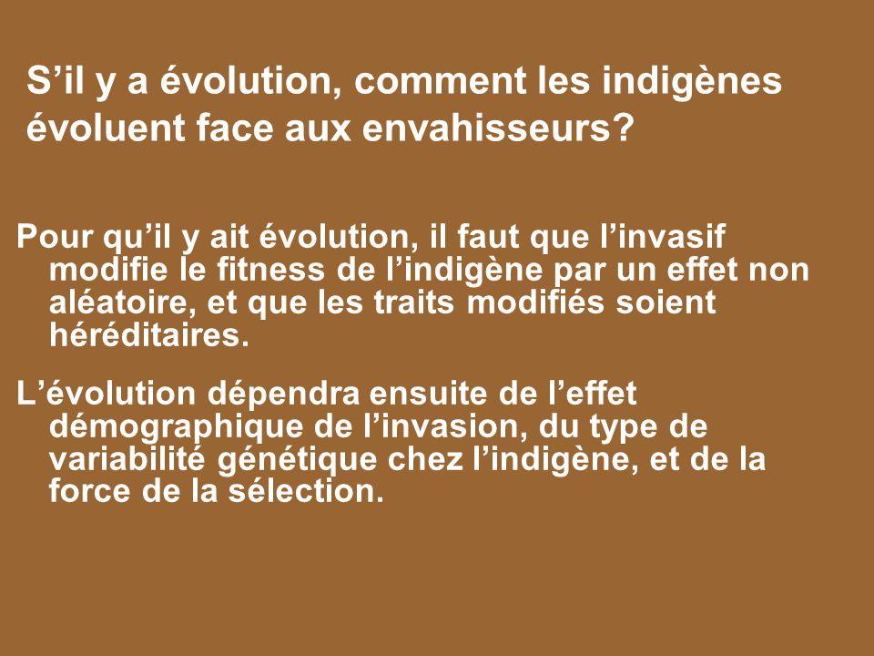 S'il y a évolution, comment les indigènes évoluent face aux envahisseurs