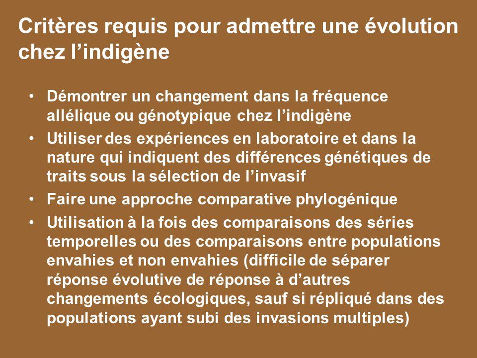 Critères requis pour admettre une évolution chez l'indigène
