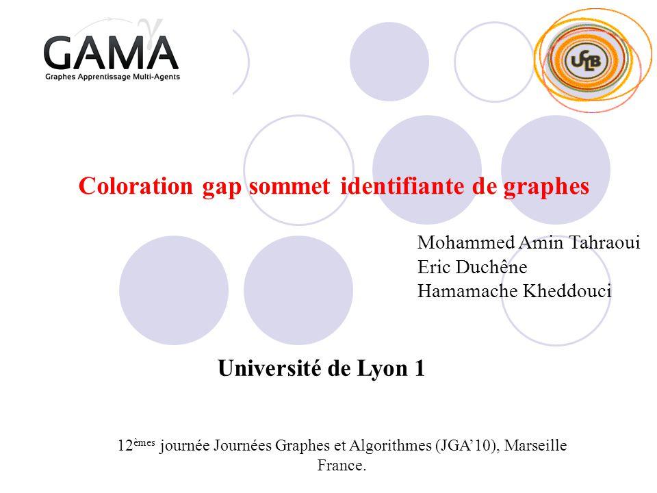 Coloration gap sommet identifiante de graphes