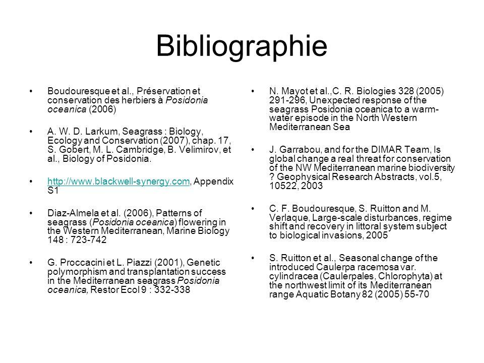 Bibliographie Boudouresque et al., Préservation et conservation des herbiers à Posidonia oceanica (2006)
