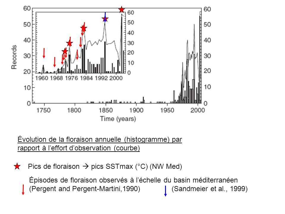 Évolution de la floraison annuelle (histogramme) par rapport à l'effort d'observation (courbe)