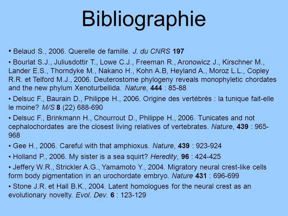 Bibliographie Belaud S., 2006. Querelle de famille. J. du CNRS 197