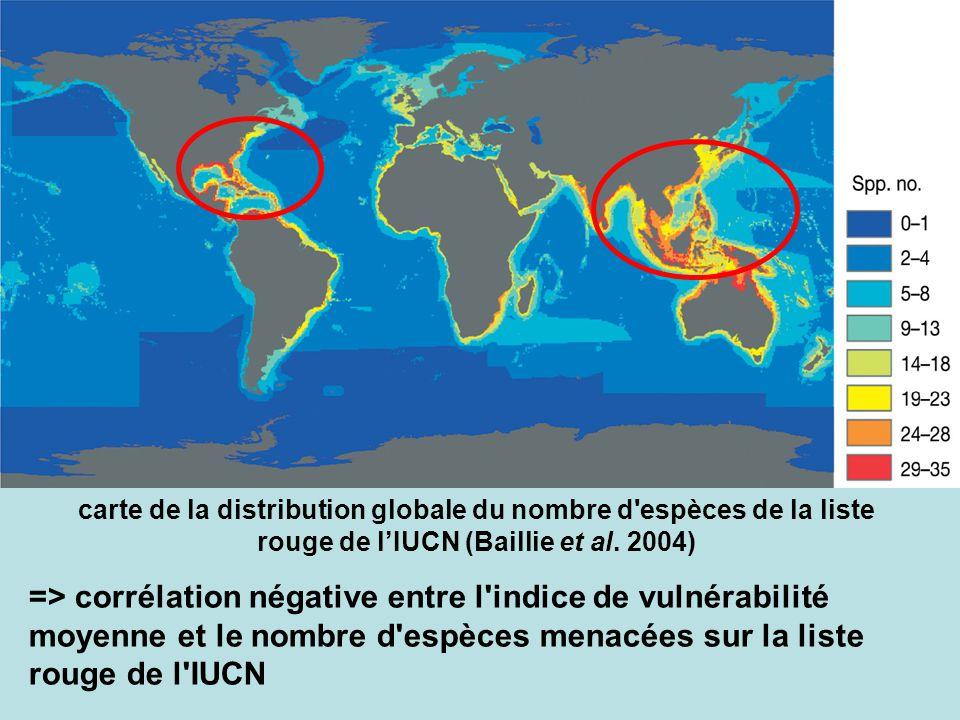 carte de la distribution globale du nombre d espèces de la liste rouge de l'IUCN (Baillie et al. 2004)