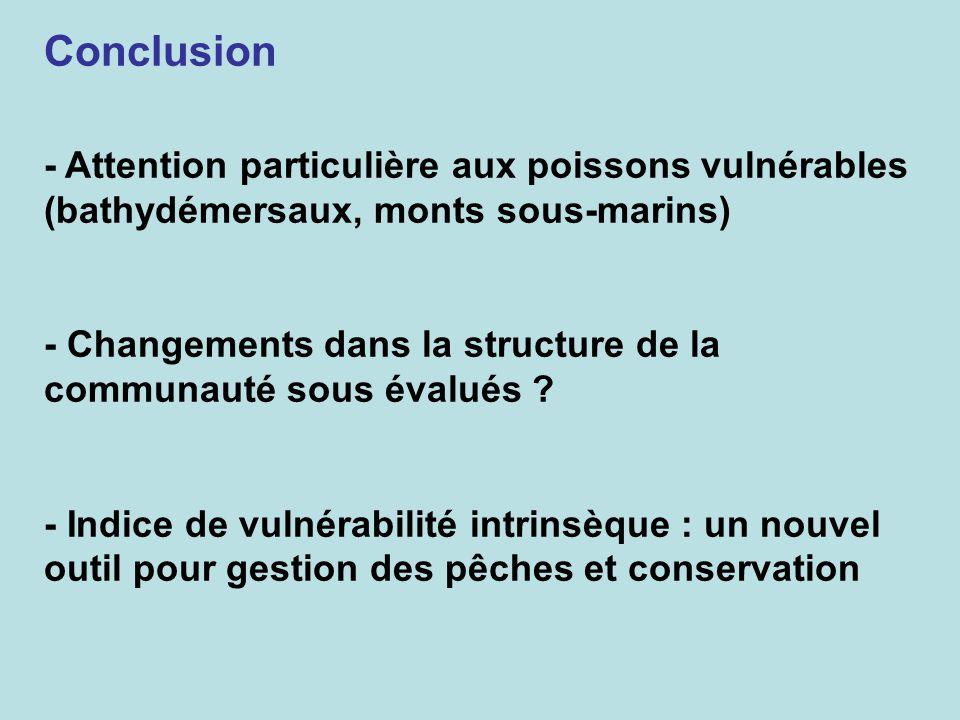 Conclusion - Attention particulière aux poissons vulnérables (bathydémersaux, monts sous-marins)