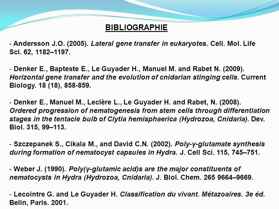 BIBLIOGRAPHIE Andersson J.O. (2005). Lateral gene transfer in eukaryotes. Cell. Mol. Life Sci. 62, 1182–1197.
