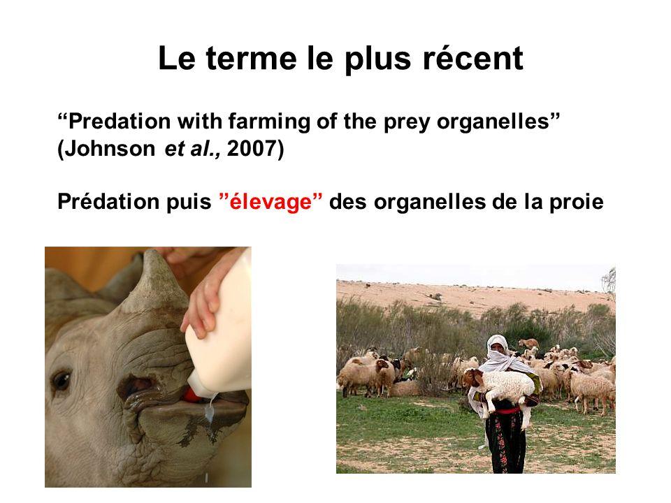 Le terme le plus récent Predation with farming of the prey organelles (Johnson et al., 2007) Prédation puis élevage des organelles de la proie.