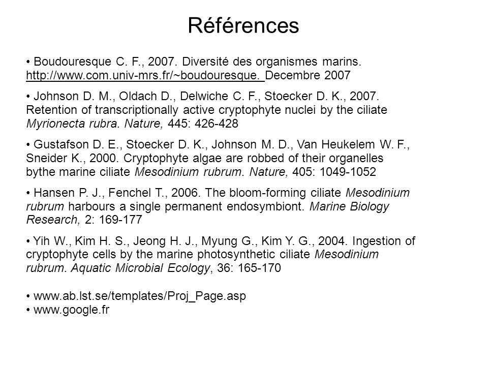 Références Boudouresque C. F., 2007. Diversité des organismes marins. http://www.com.univ-mrs.fr/~boudouresque. Decembre 2007.