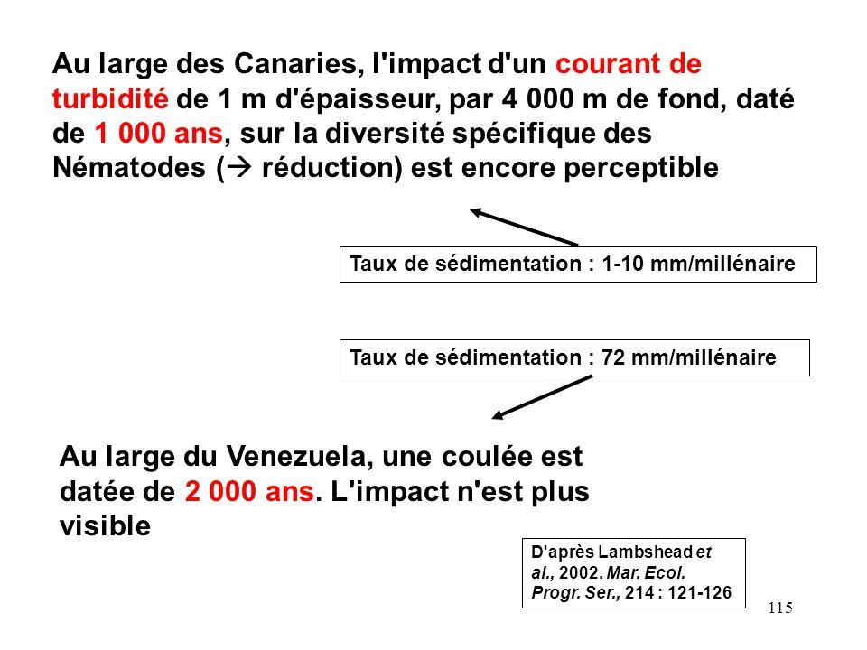 Au large des Canaries, l impact d un courant de turbidité de 1 m d épaisseur, par 4 000 m de fond, daté de 1 000 ans, sur la diversité spécifique des Nématodes ( réduction) est encore perceptible