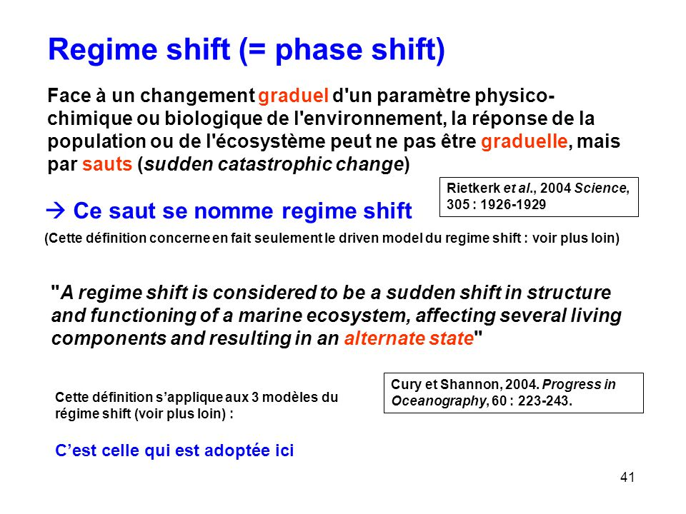 Regime shift (= phase shift)