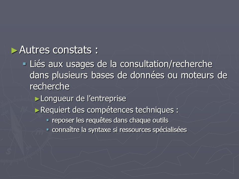 Autres constats : Liés aux usages de la consultation/recherche dans plusieurs bases de données ou moteurs de recherche.