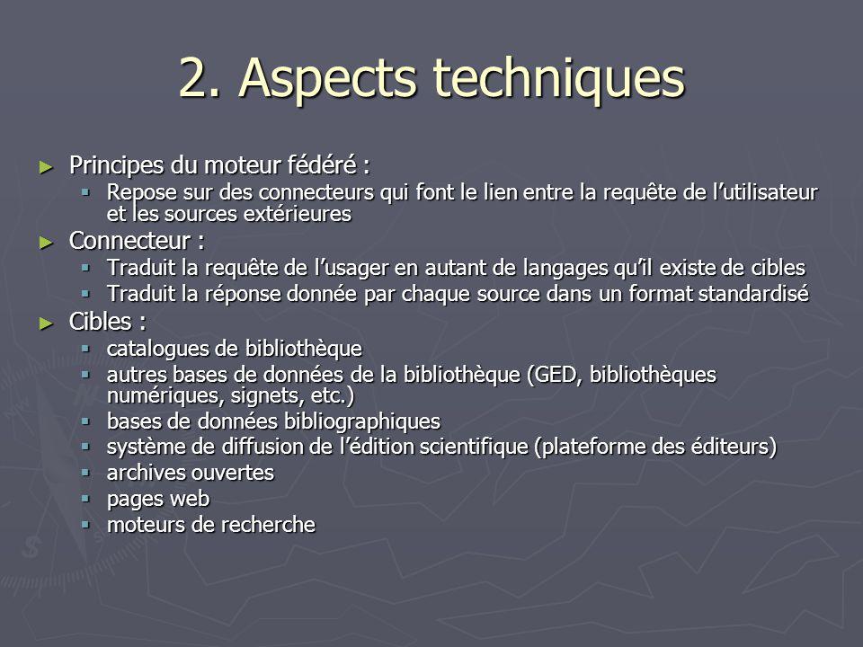 2. Aspects techniques Principes du moteur fédéré : Connecteur :