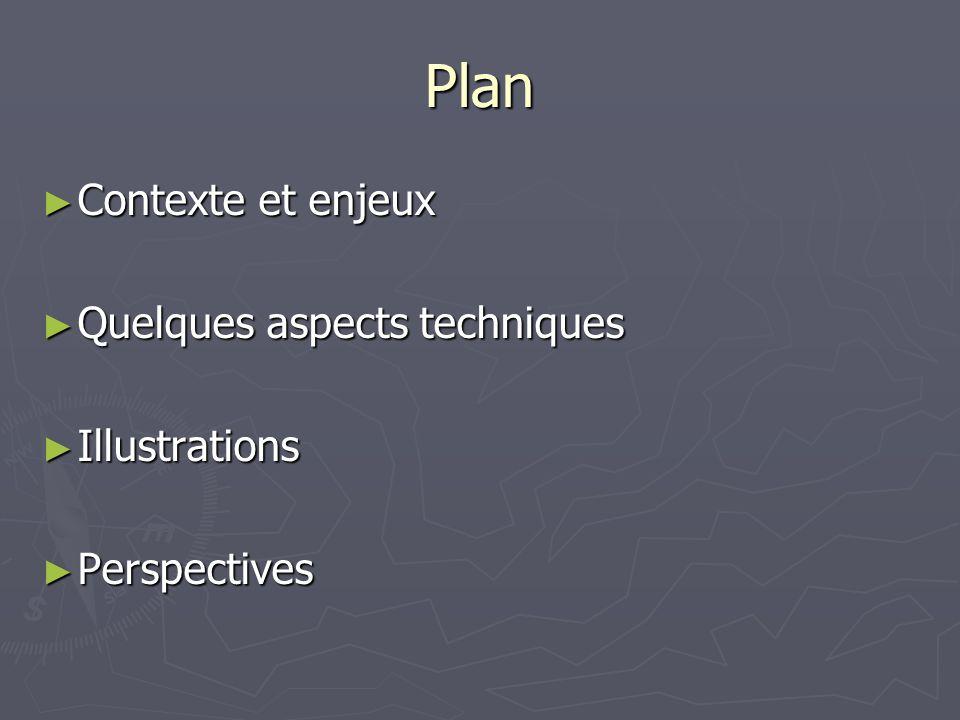 Plan Contexte et enjeux Quelques aspects techniques Illustrations