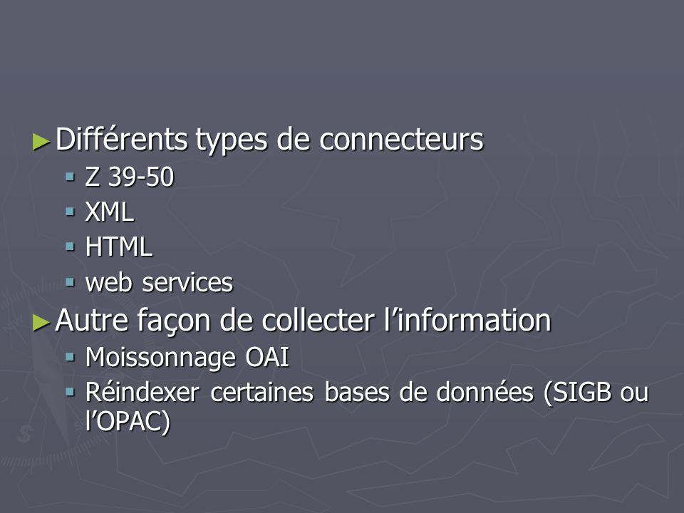 Différents types de connecteurs