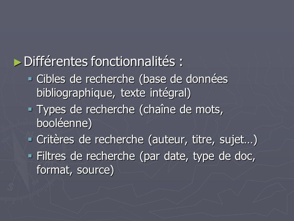 Différentes fonctionnalités :