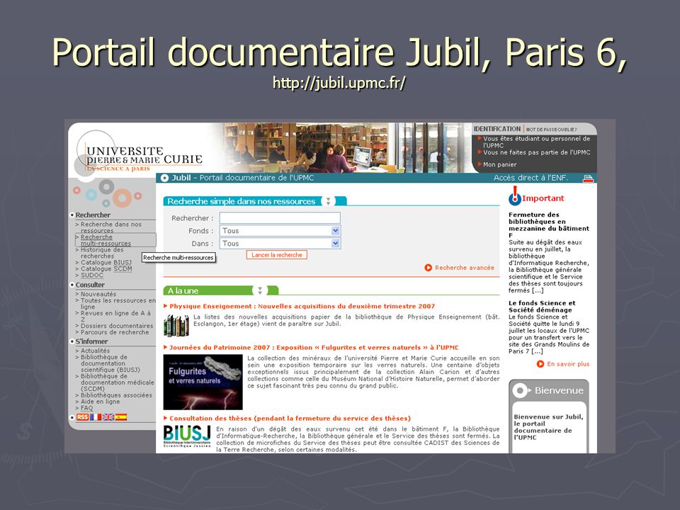 Portail documentaire Jubil, Paris 6, http://jubil.upmc.fr/