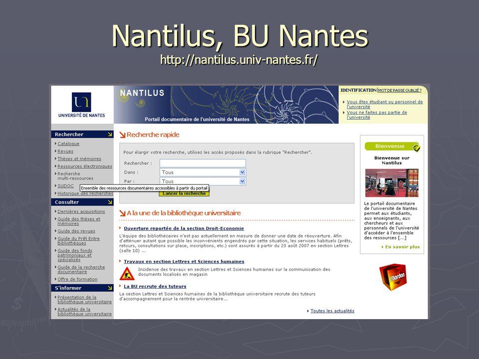 Nantilus, BU Nantes http://nantilus.univ-nantes.fr/