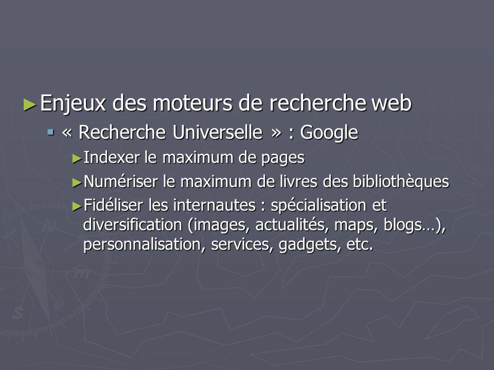 Enjeux des moteurs de recherche web
