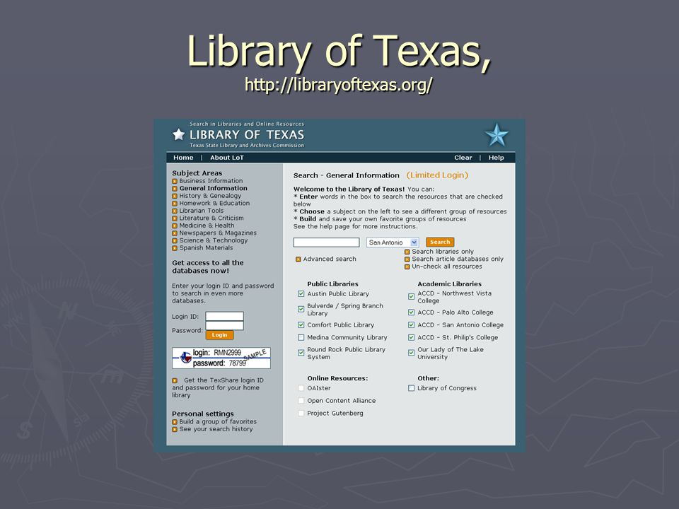 Library of Texas, http://libraryoftexas.org/