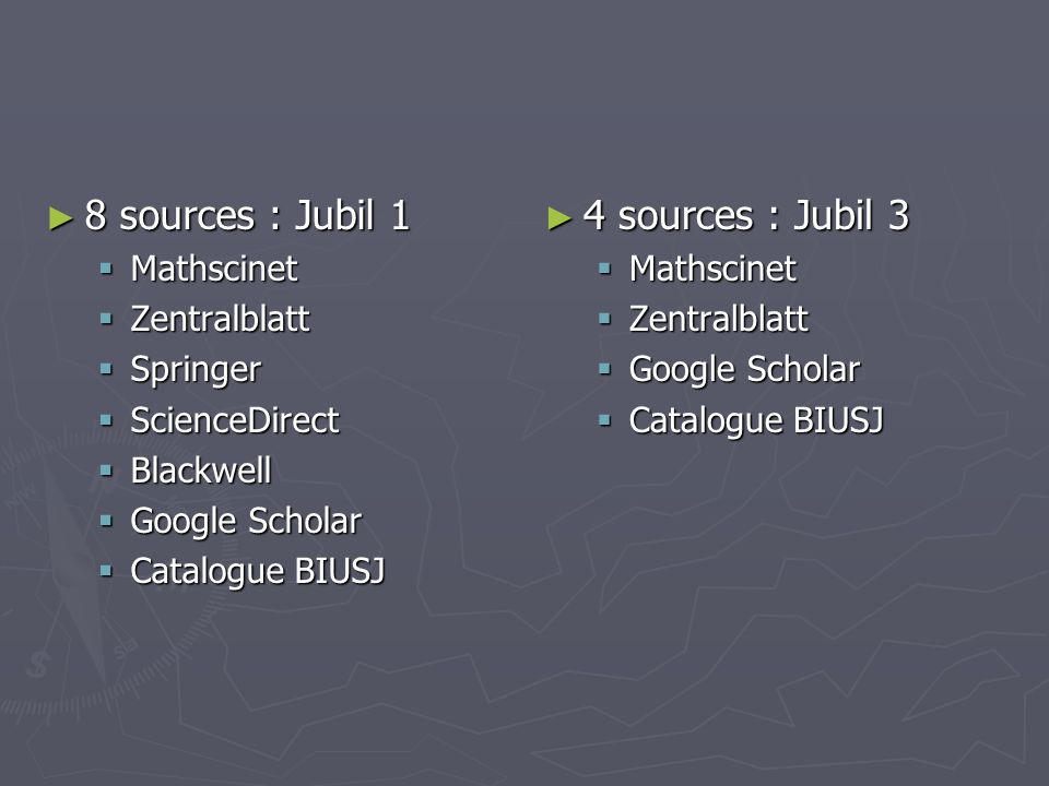 8 sources : Jubil 1 4 sources : Jubil 3 Mathscinet Zentralblatt