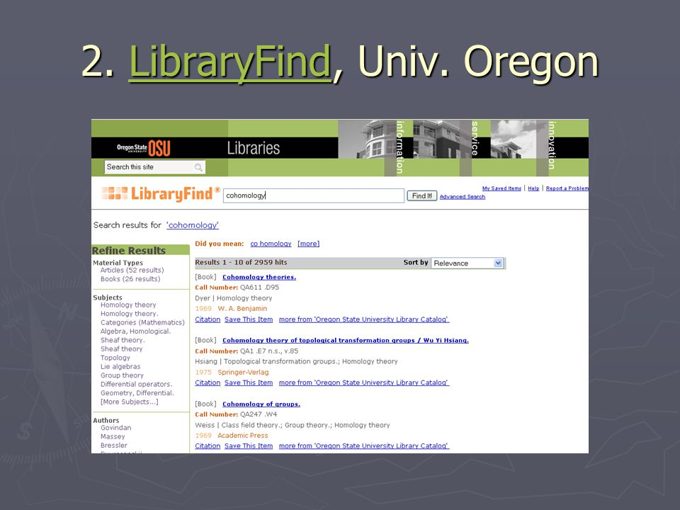 2. LibraryFind, Univ. Oregon