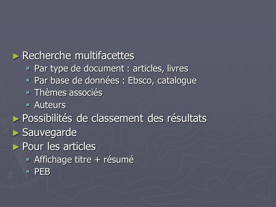 Recherche multifacettes