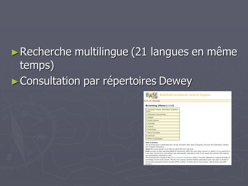 Recherche multilingue (21 langues en même temps)