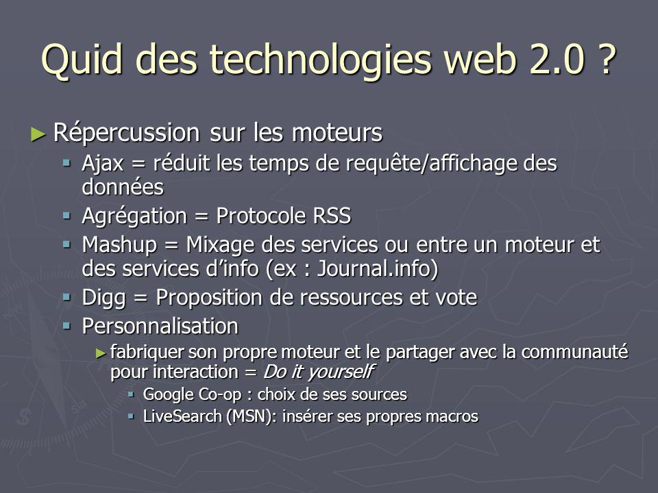 Quid des technologies web 2.0
