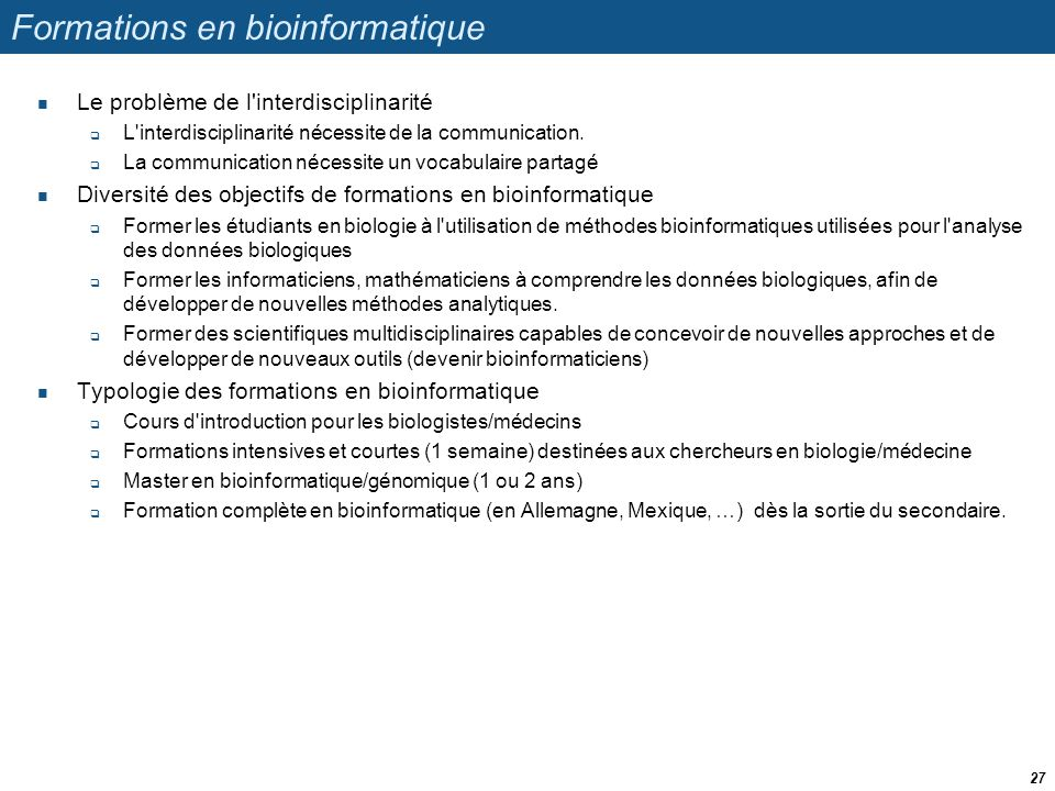 Formations en bioinformatique
