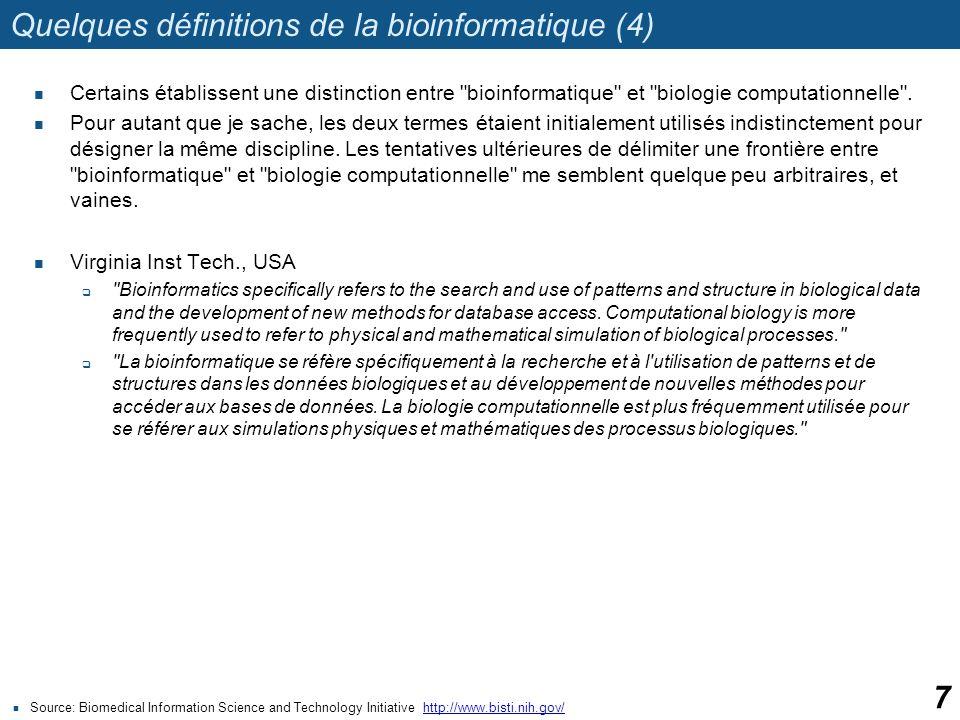 Quelques définitions de la bioinformatique (4)