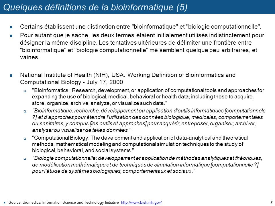 Quelques définitions de la bioinformatique (5)
