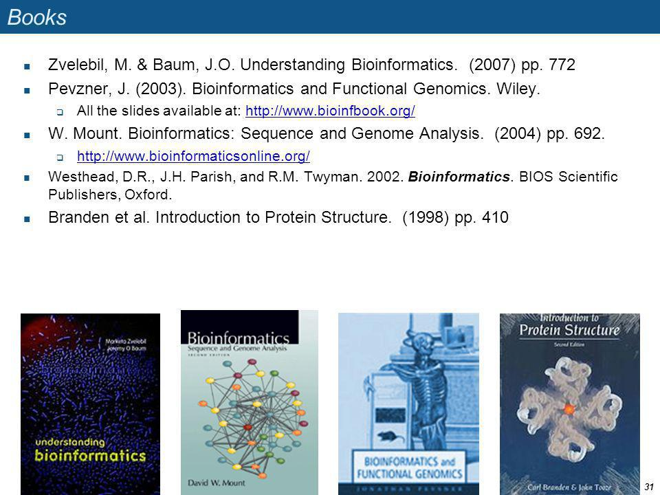 Books Zvelebil, M. & Baum, J.O. Understanding Bioinformatics. (2007) pp. 772. Pevzner, J. (2003). Bioinformatics and Functional Genomics. Wiley.